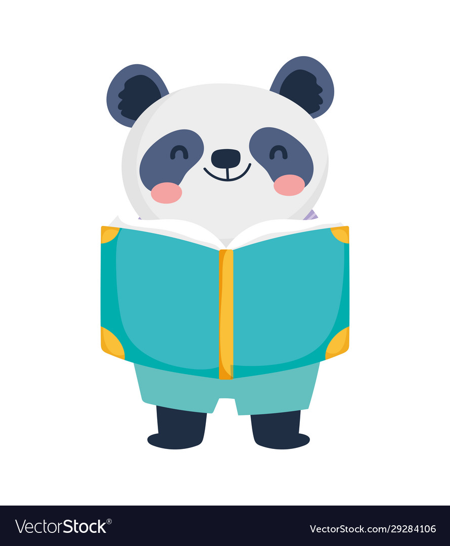 Back to school education cute panda with book