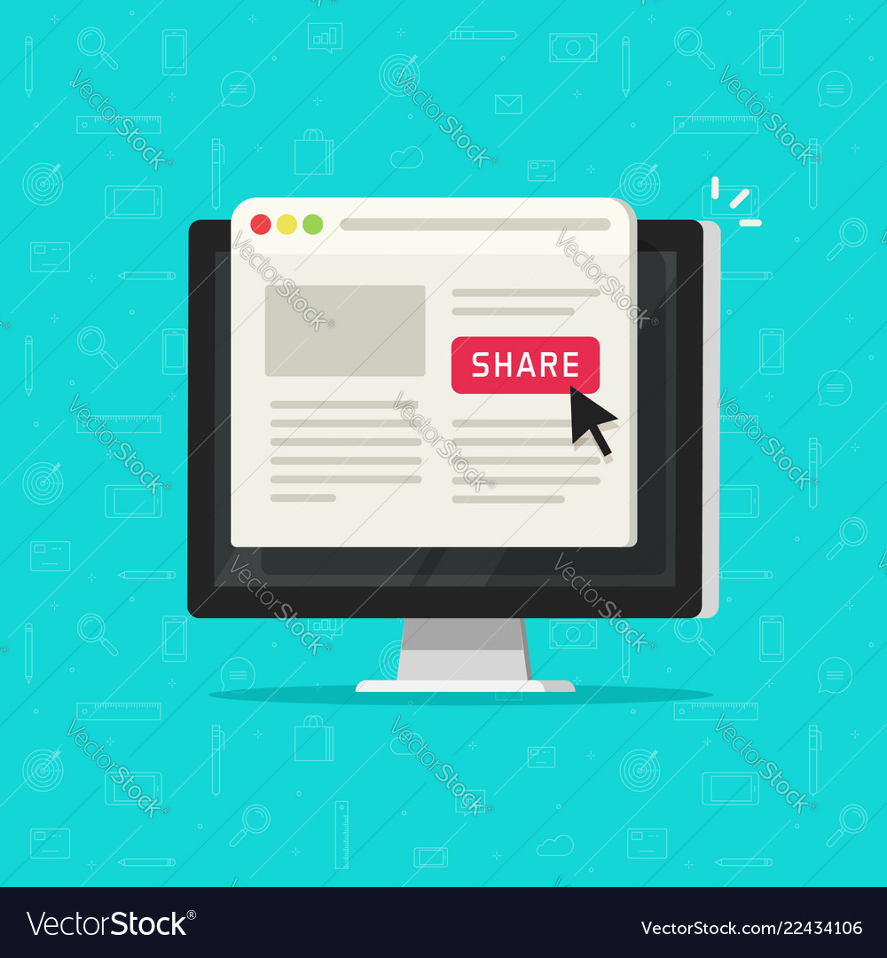 Click to share button on computer sharing website