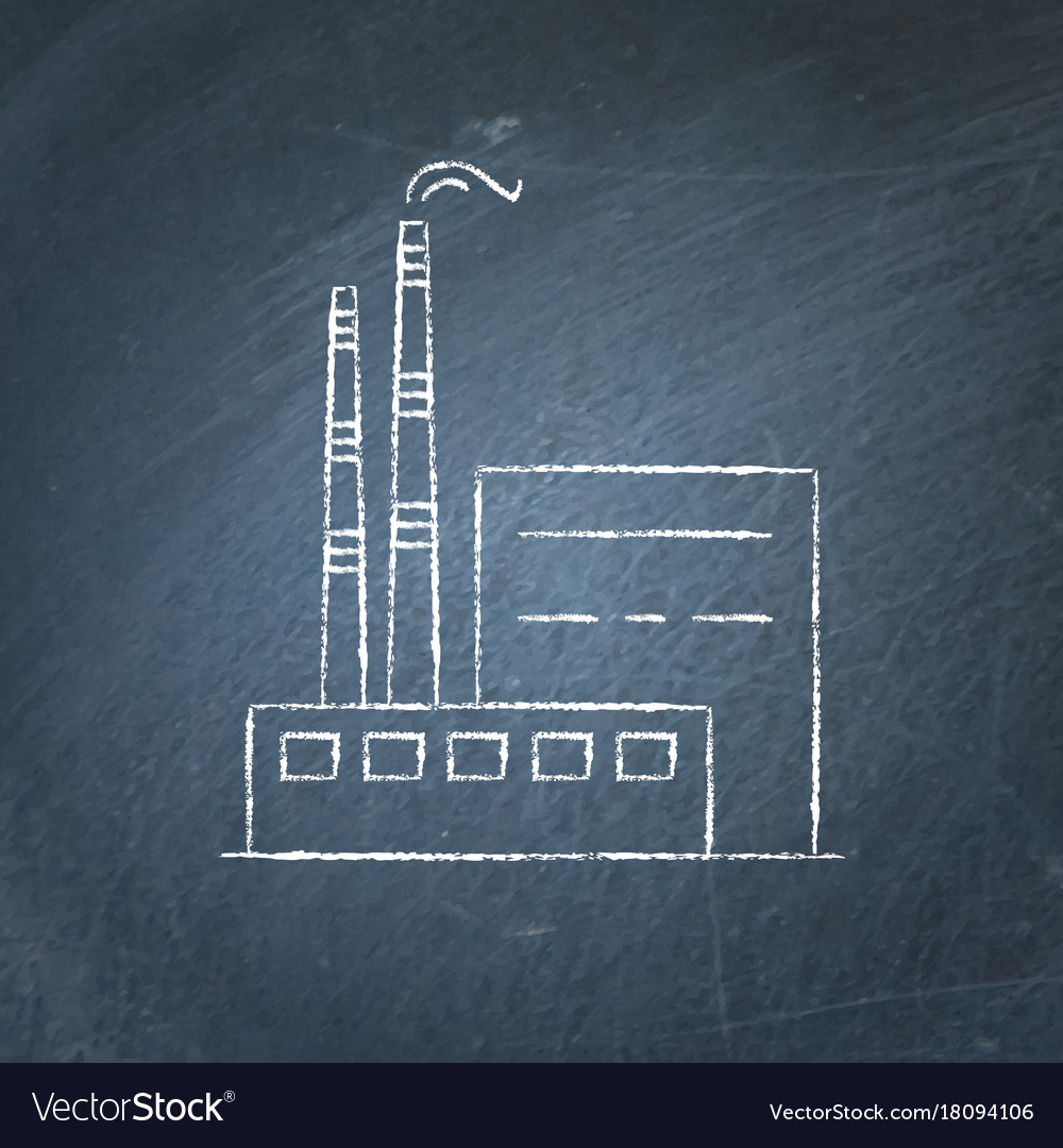 coal power plant chalkboard sketch royalty free vector image