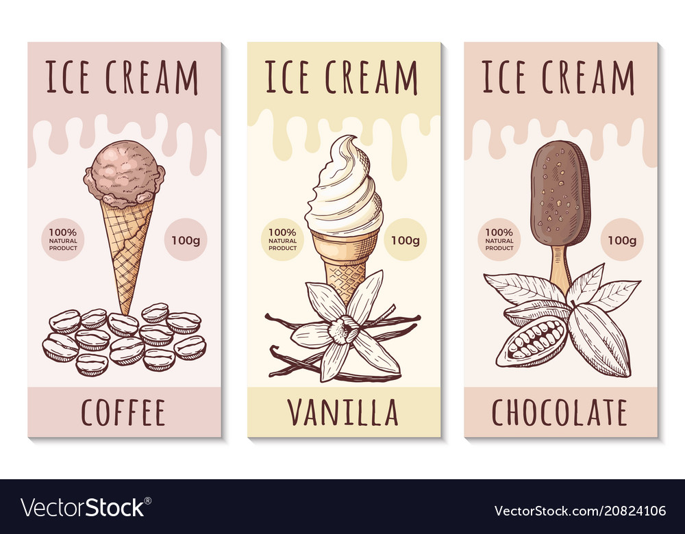 Design template ice cream labels with hand
