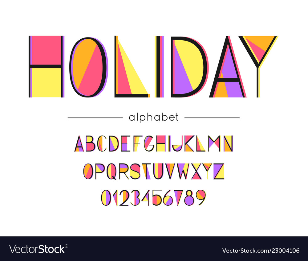Holiday font and alphabet type
