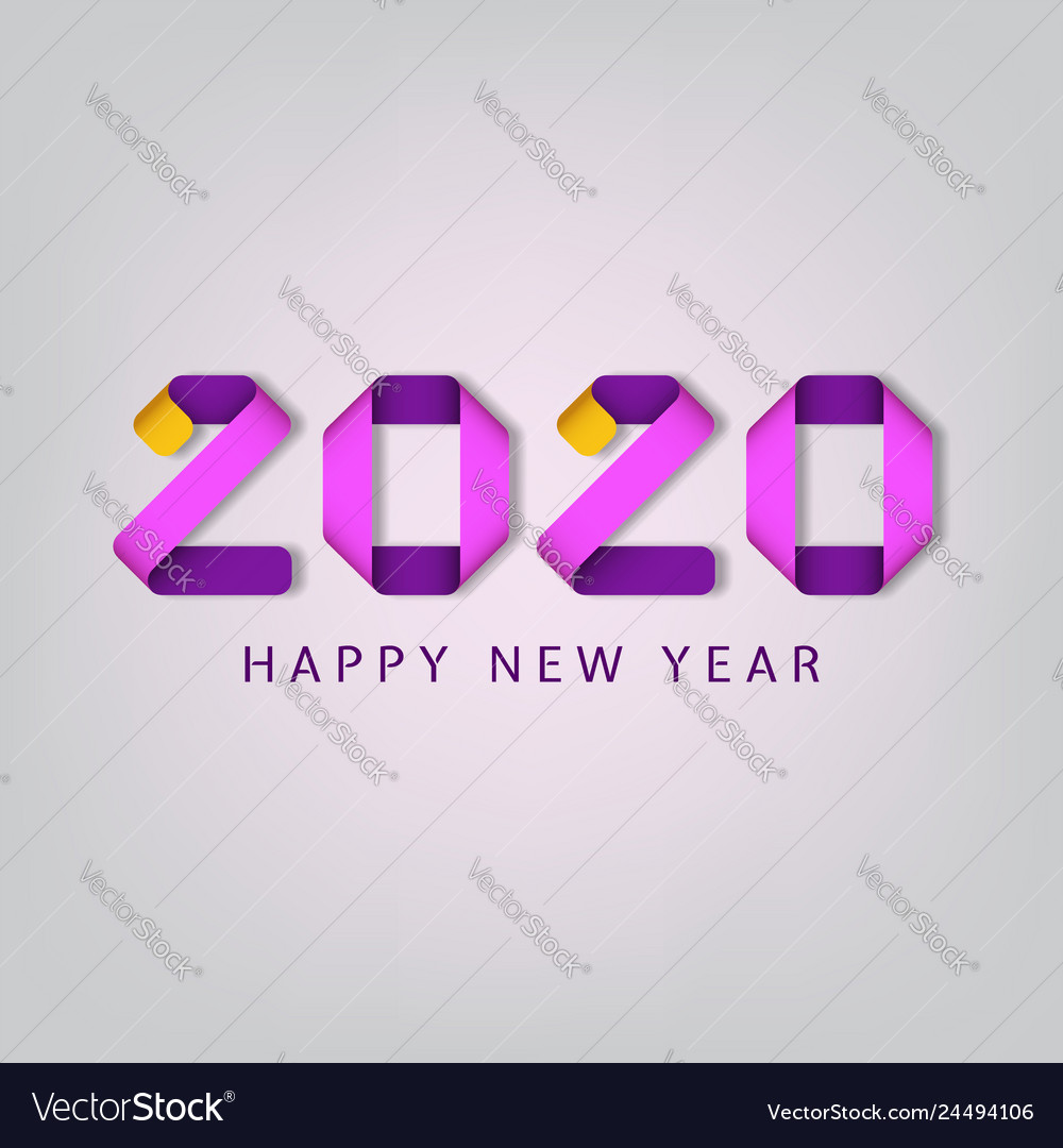Inscription happy new year 2020 on white