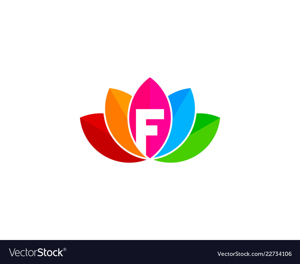 Lotus letter f logo icon design Royalty Free Vector Image