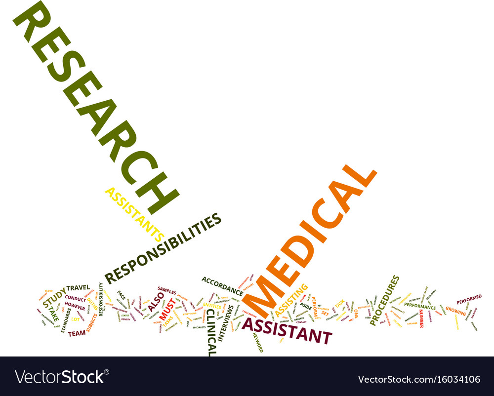 Medical research assistant text background word
