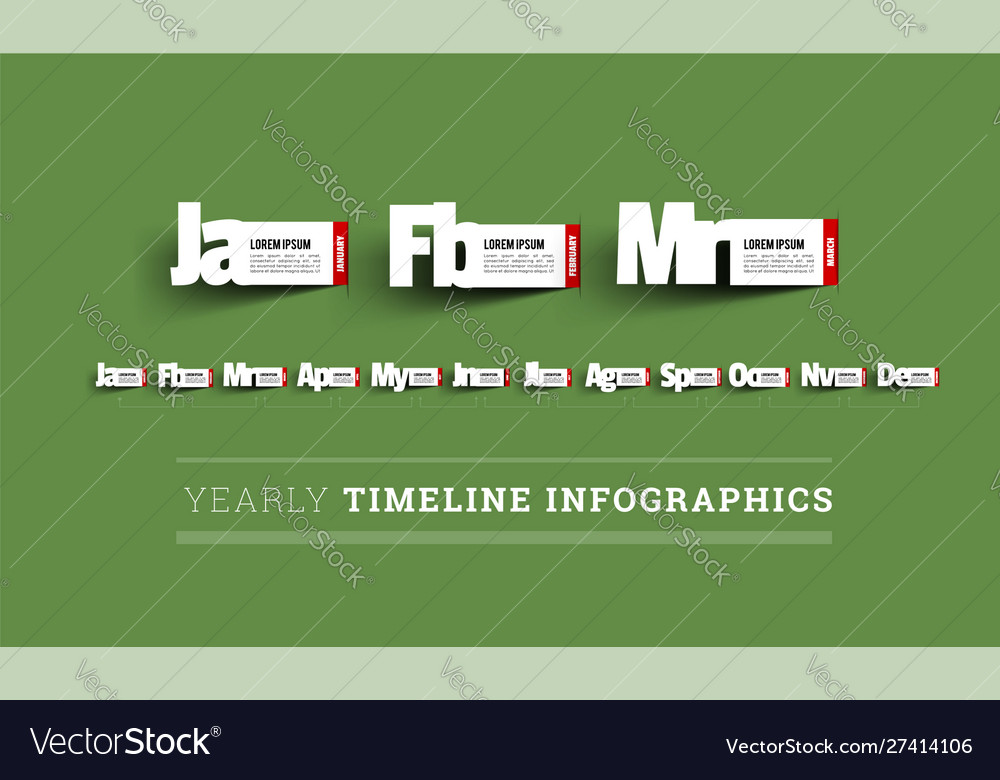 Monthly timeline infographics paper cut