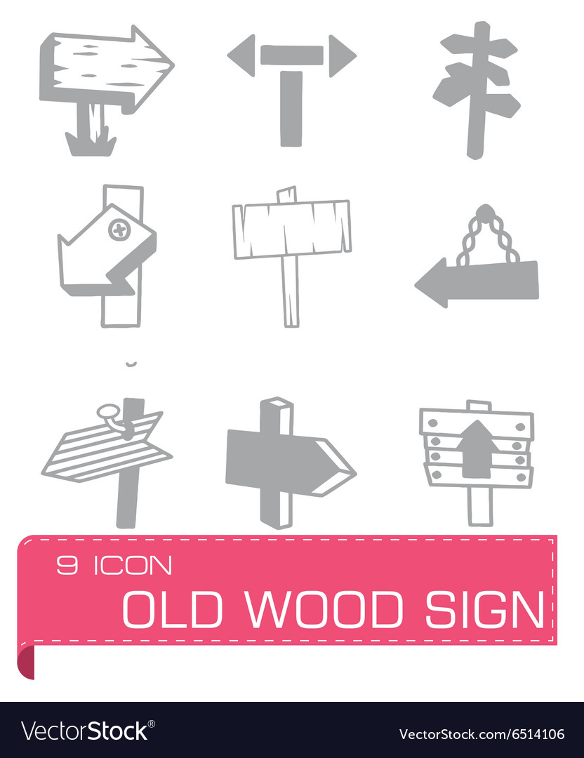 Old wood sign icon set