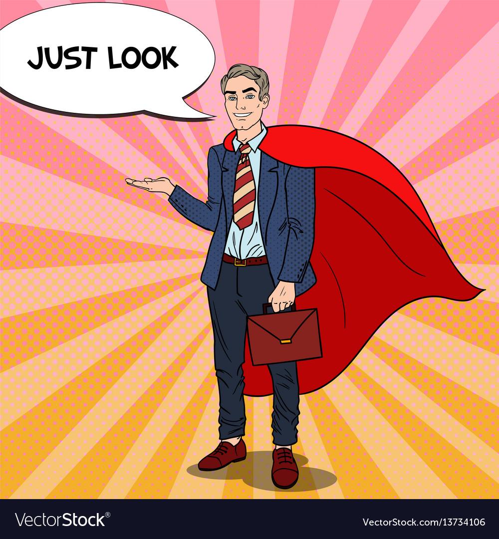 Pop art happy super businessman in red cape