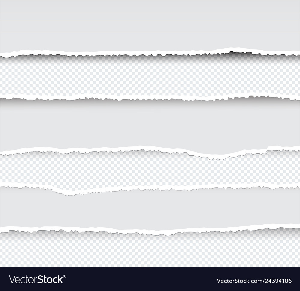 Set of ripped and torn paper stripes texture of