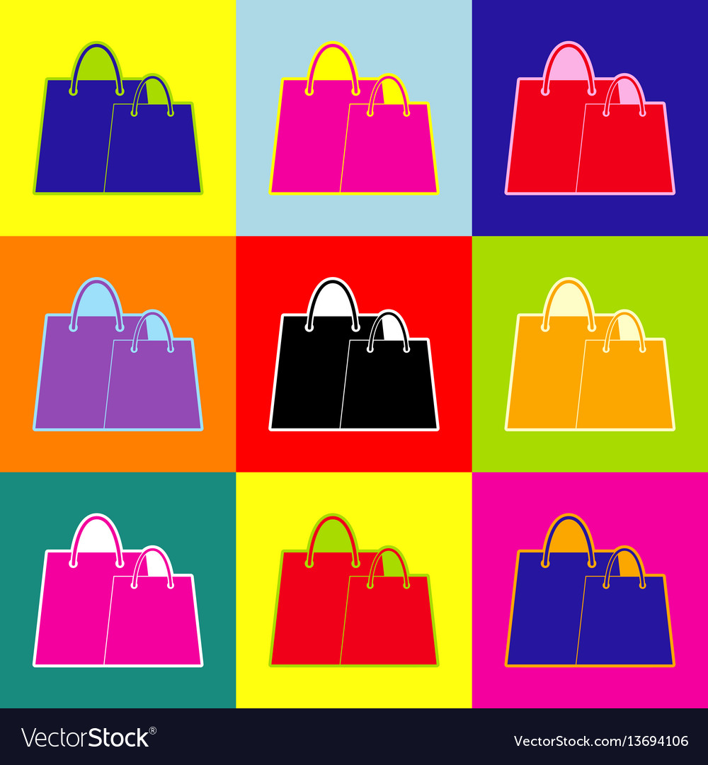 Shopping bags sign pop-art style colorful