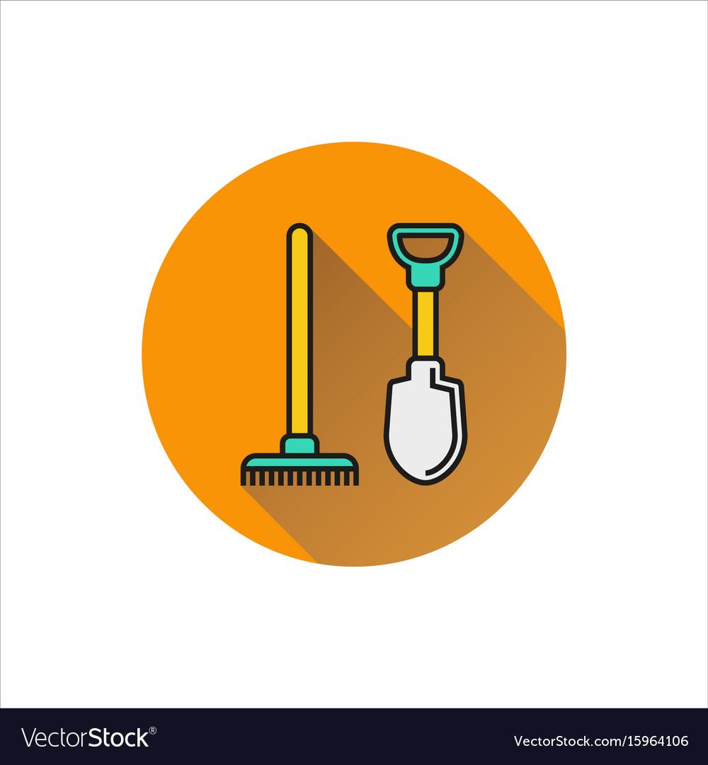 Shovel and rake icon isolated on white background vector image