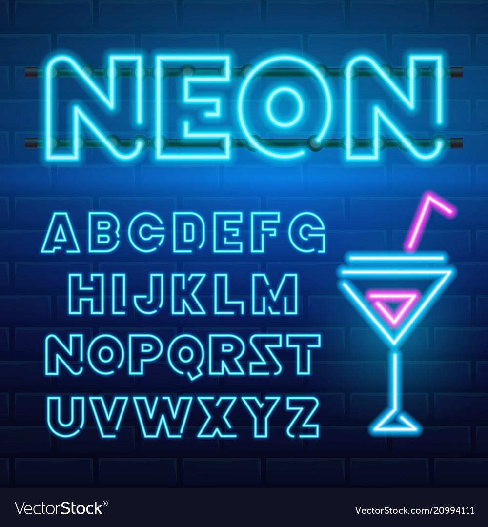 80 s blue neon retro font futuristic chrome