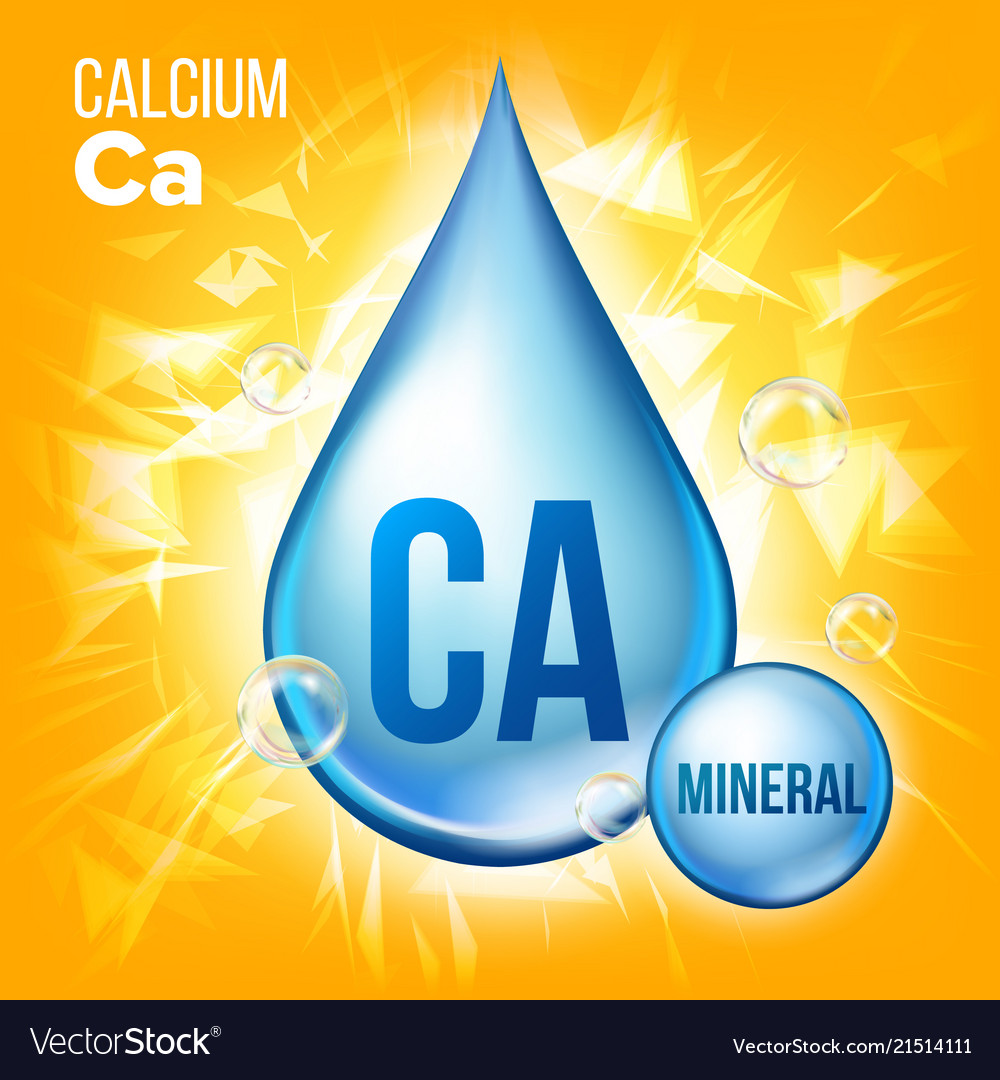Ca calcium mineral blue drop icon vitamin