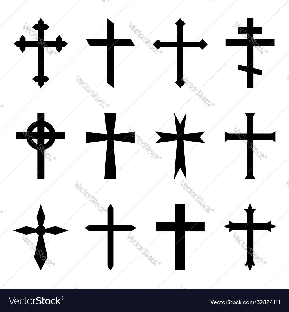 Christian cross crucifix icon black catholic
