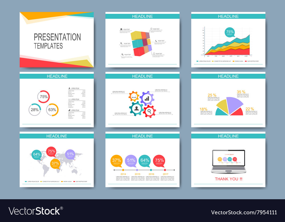 Colorful set of templates for multipurpose