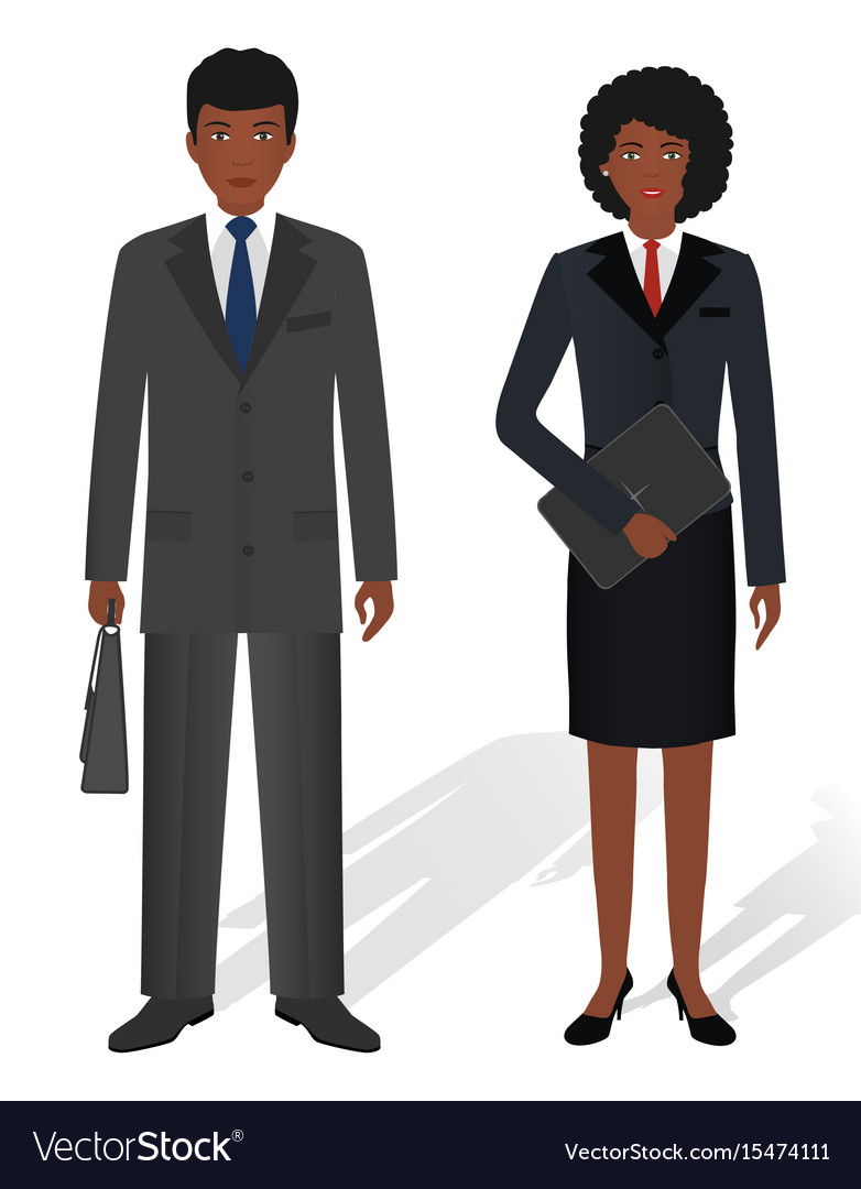 Couple of business african american man and woman