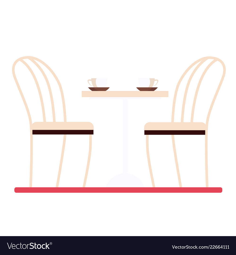 Dining table and chairs flat style