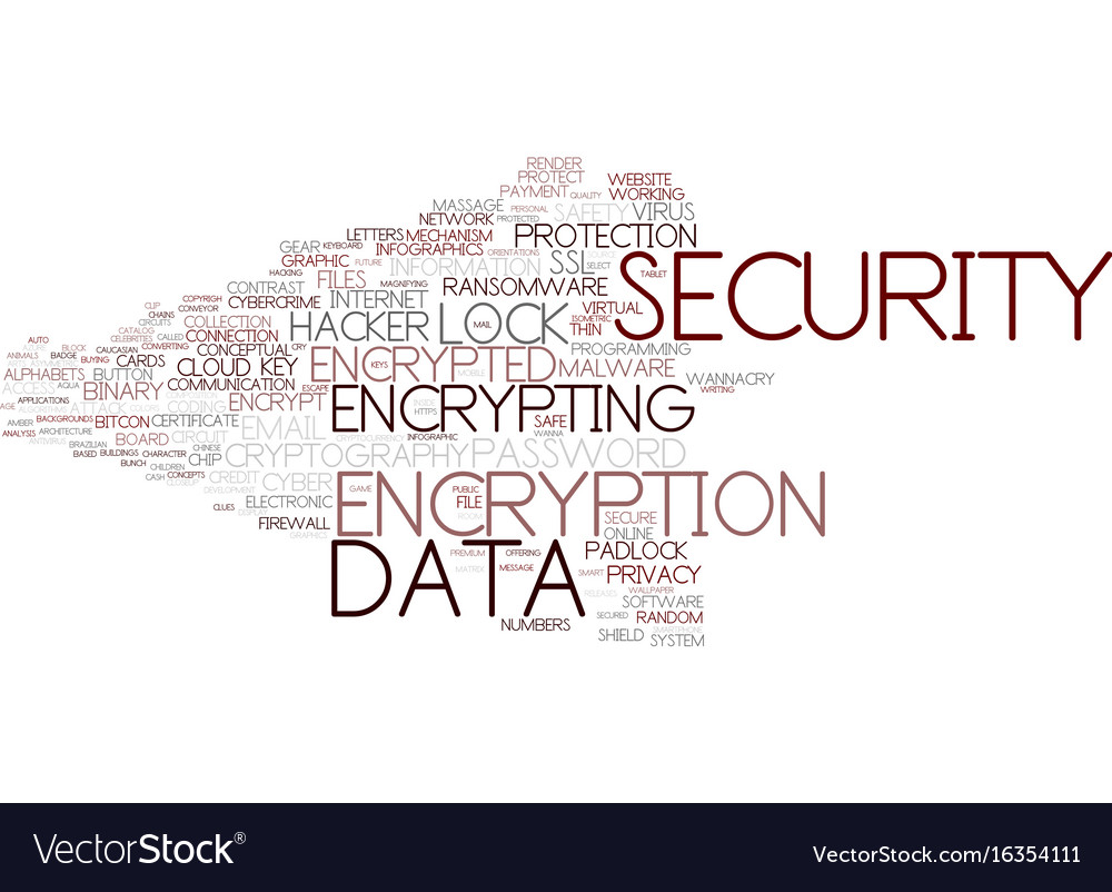 Encrypting word cloud concept vector image