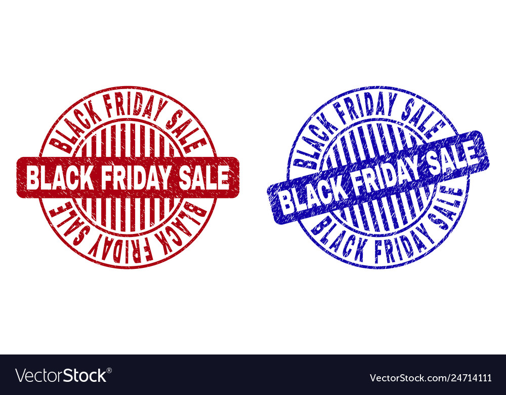 Grunge black friday sale textured round stamps