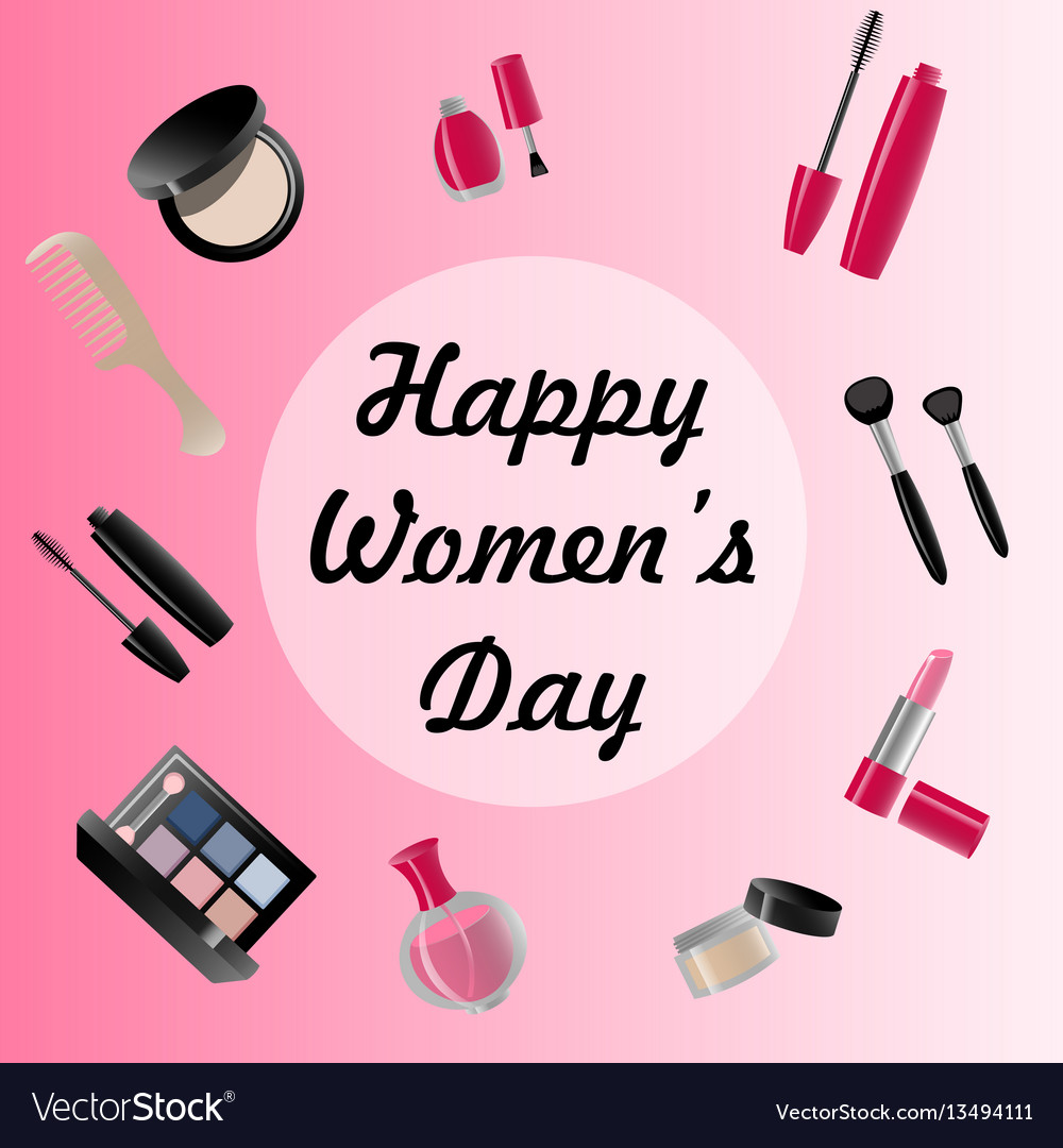 Happy womans day card of icons