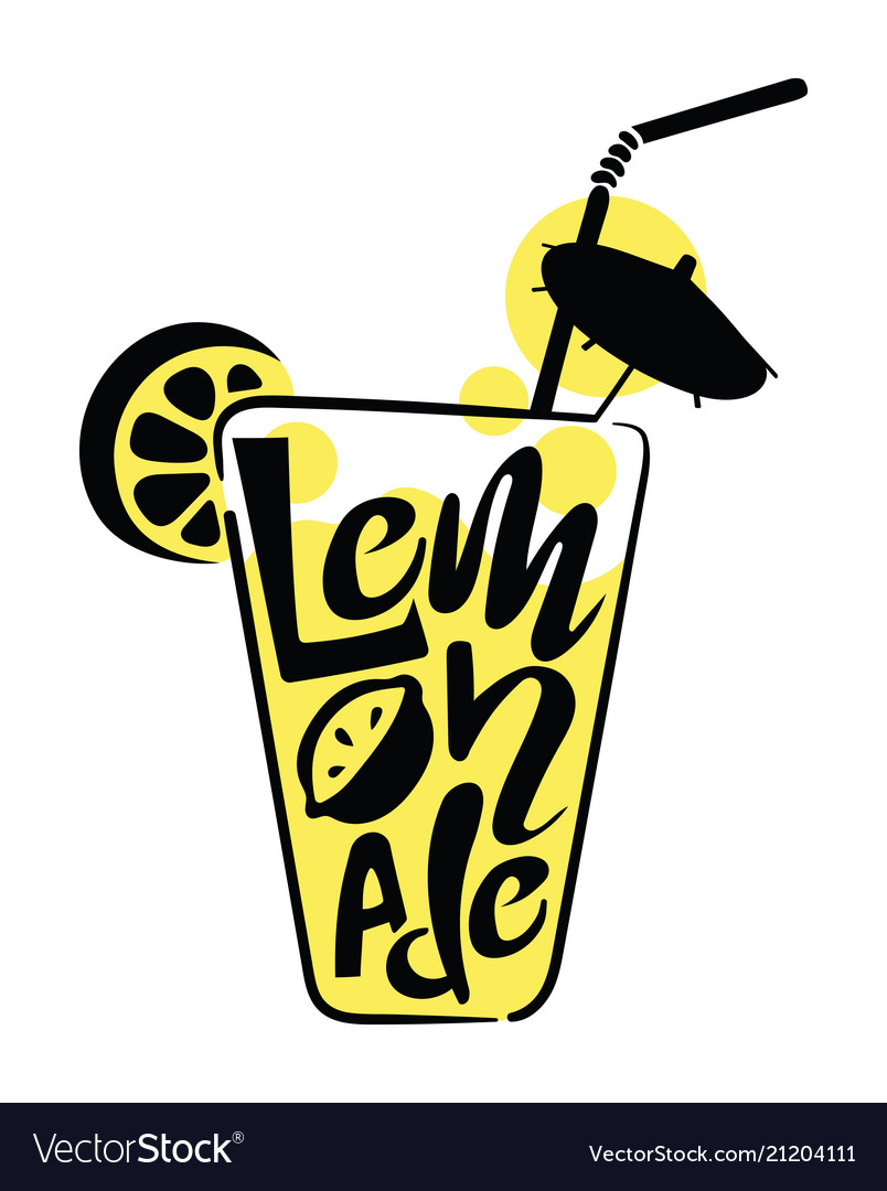 Logo of lemonade in a glass with words stylized