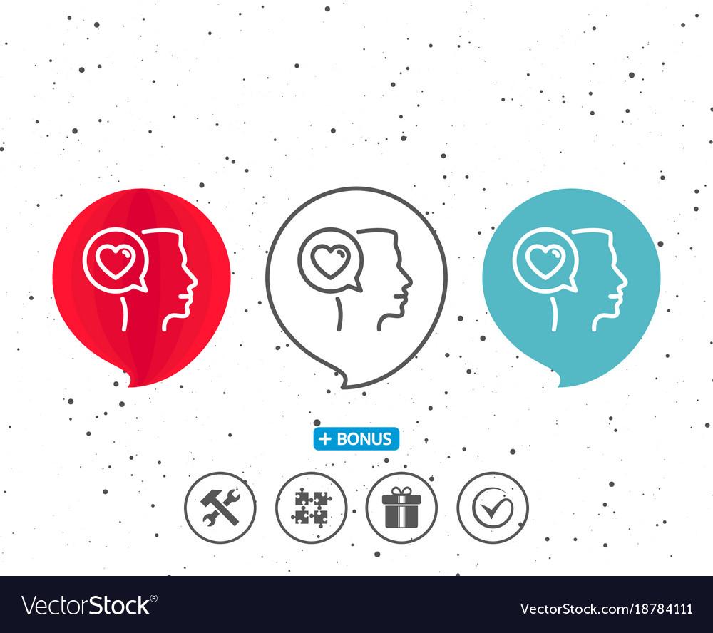 Love chat line icon heart symbol