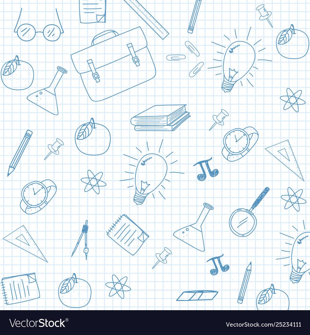 School supplies sketchy notebook doodles