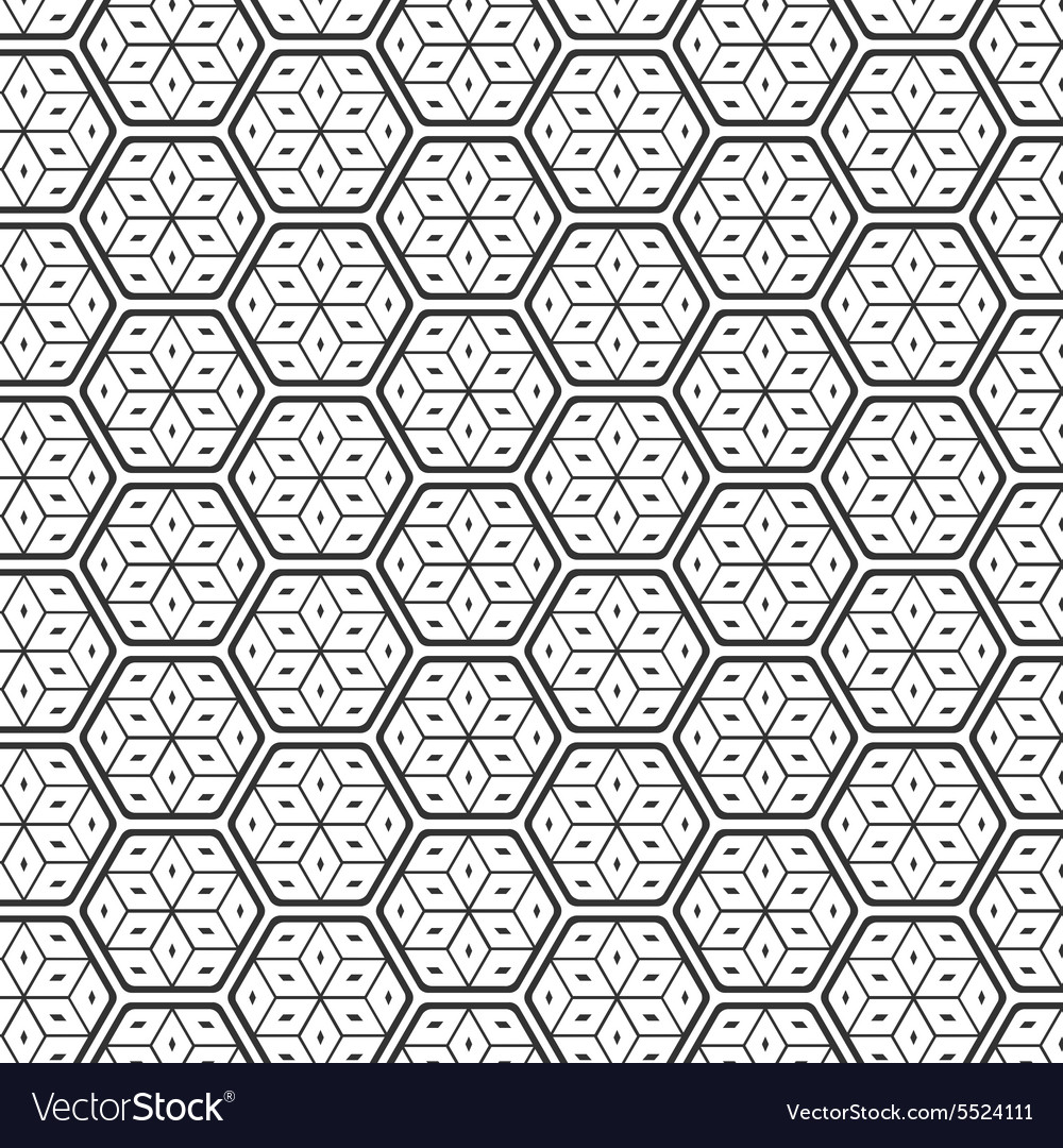 Seamless Geometric Lines Black and White Hexagon