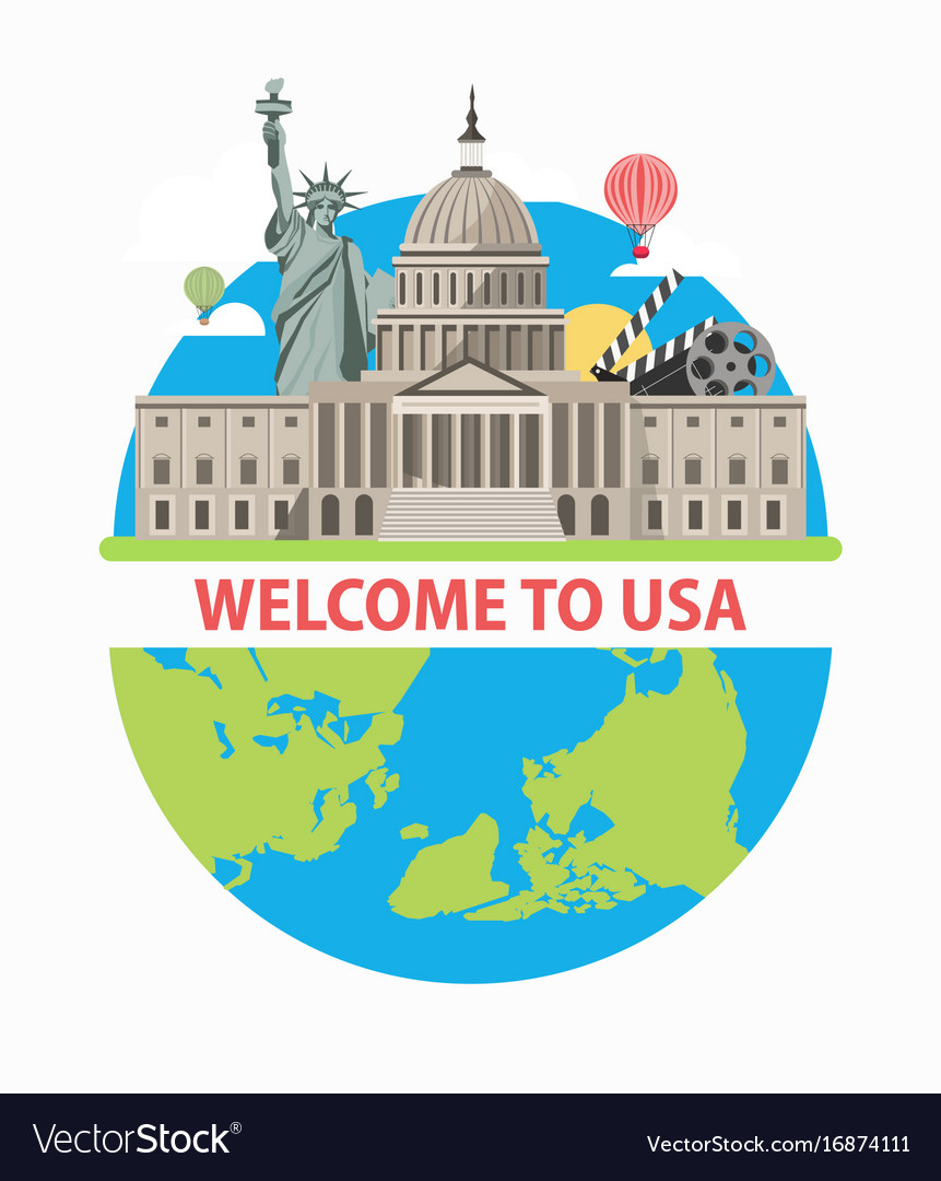 Welcome to usa travel poster for america tourism