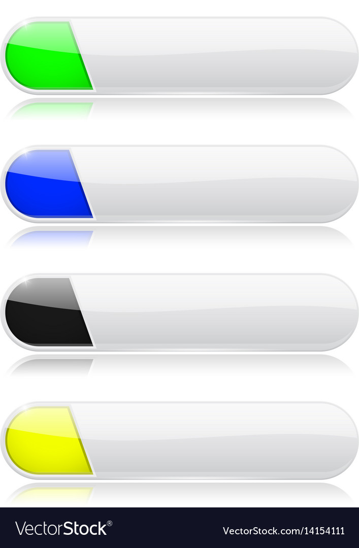 White oval menu buttonswith shiny colored tags vector image