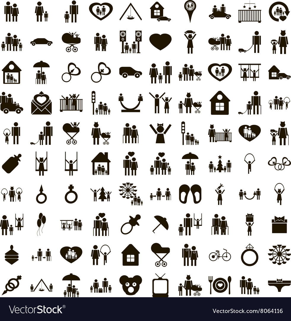 100 family icons set simple style vector image