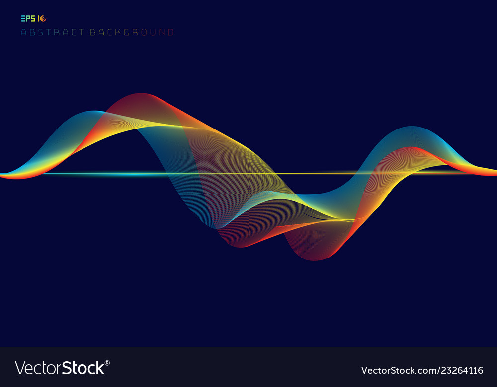 Abstract colorful digital equalizer wave lines on
