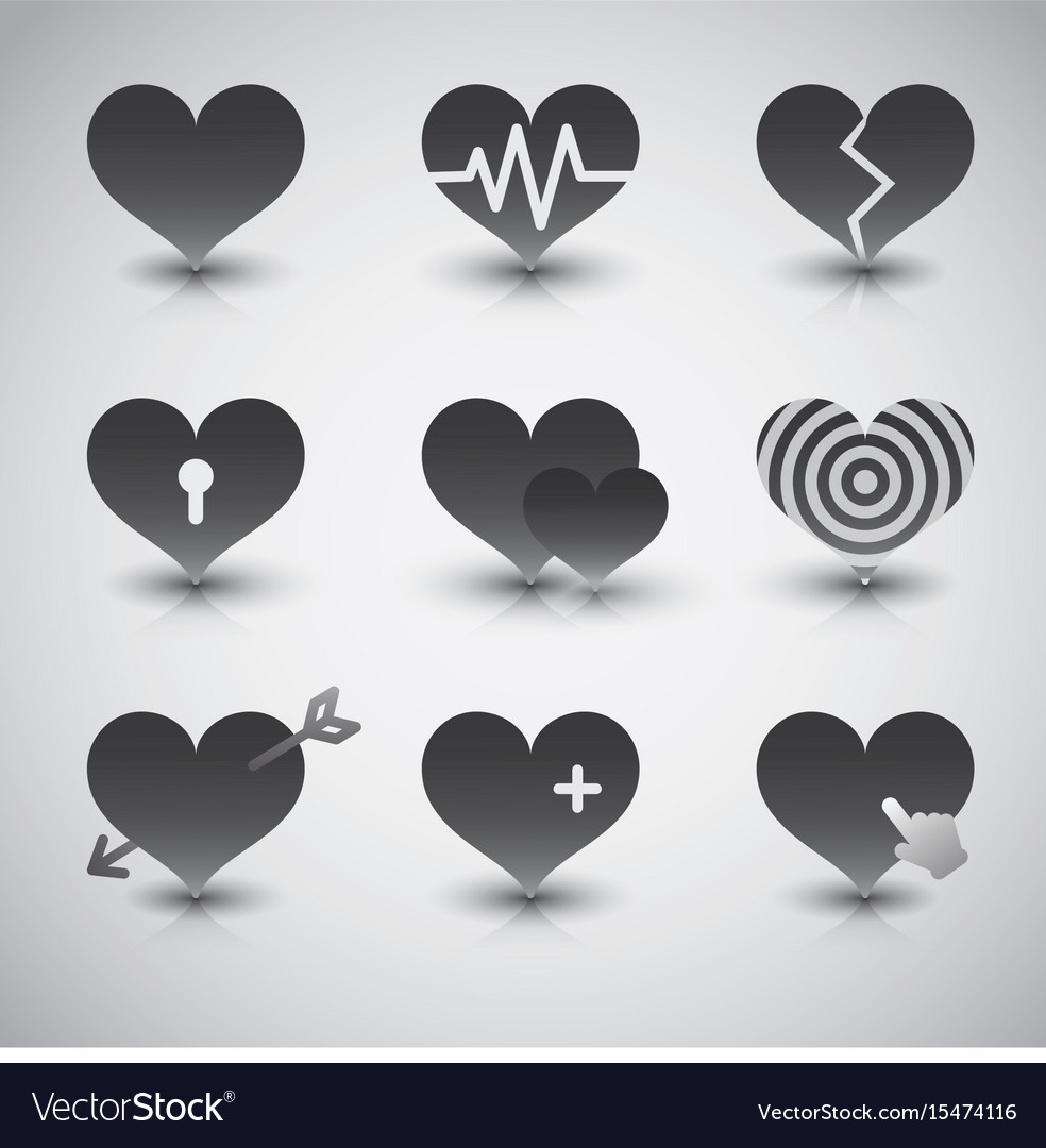Black hearts icons set