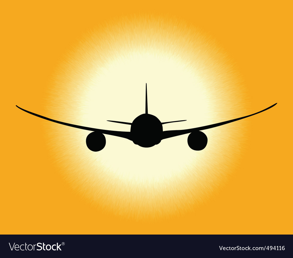 Black silhouette of an airplane