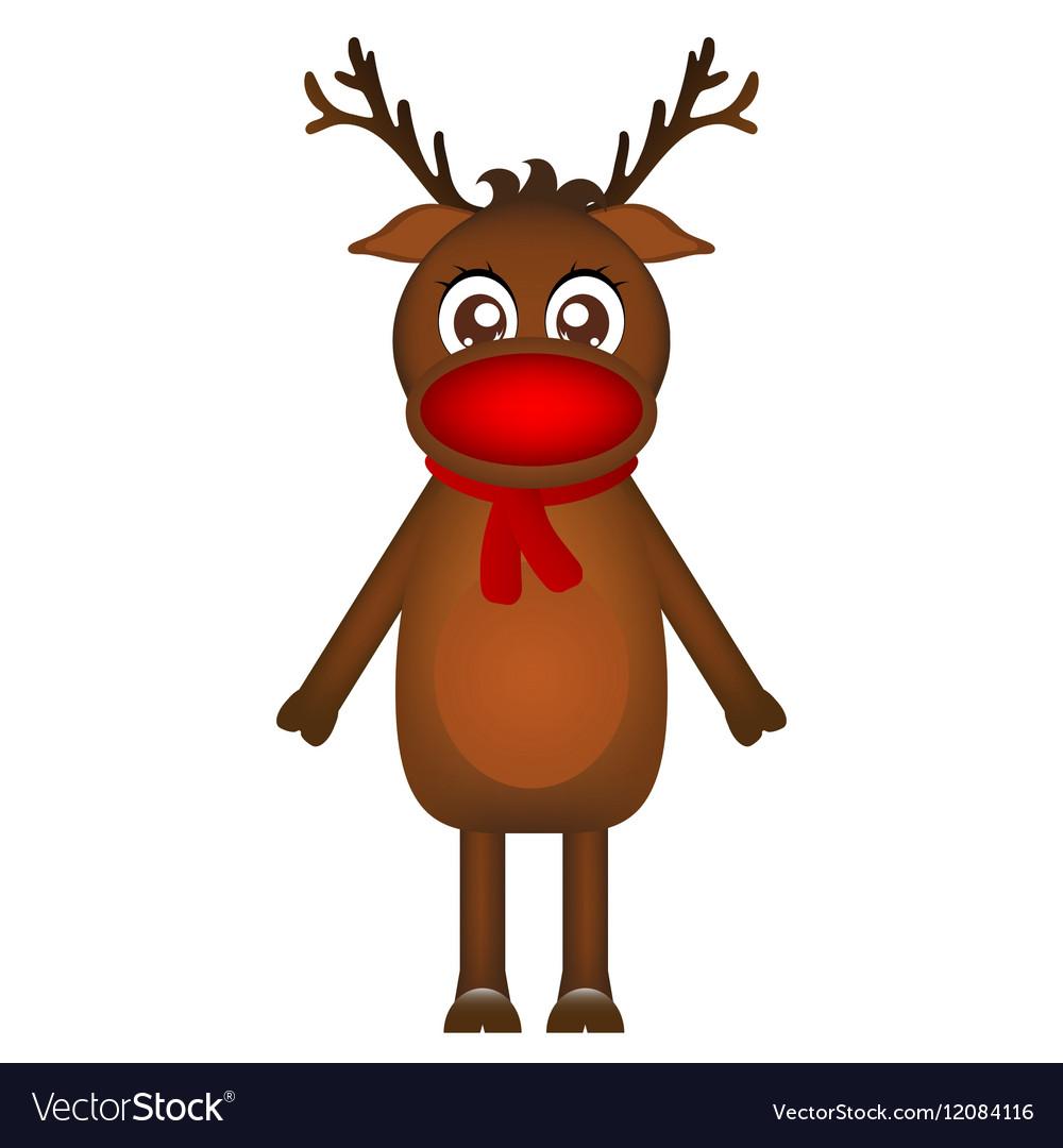 Cheerful cartoon reindeer on a white background