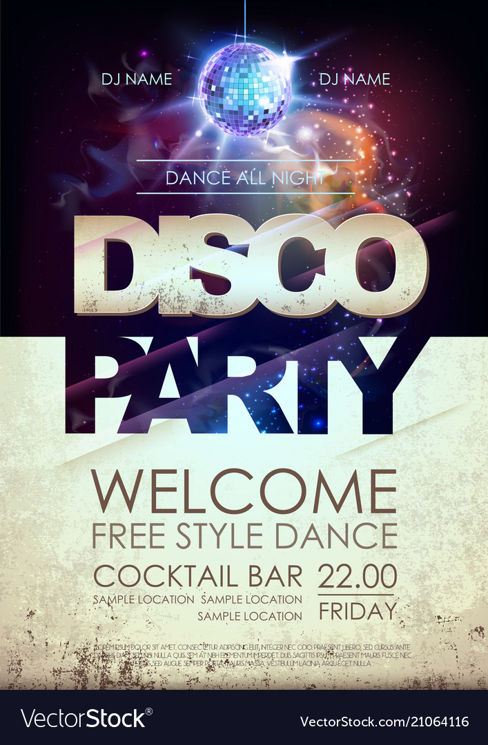 Disco ball background disco party poster on open
