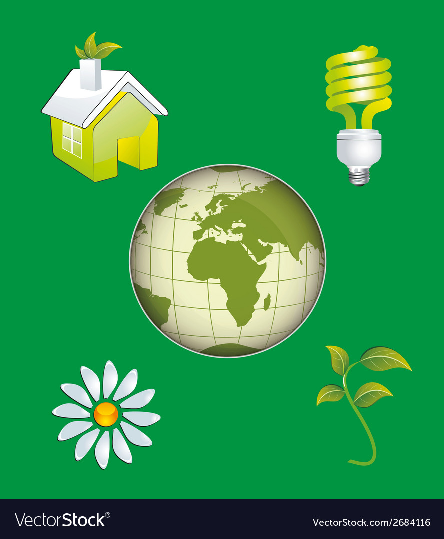 Ecology Icon Concept with Earth