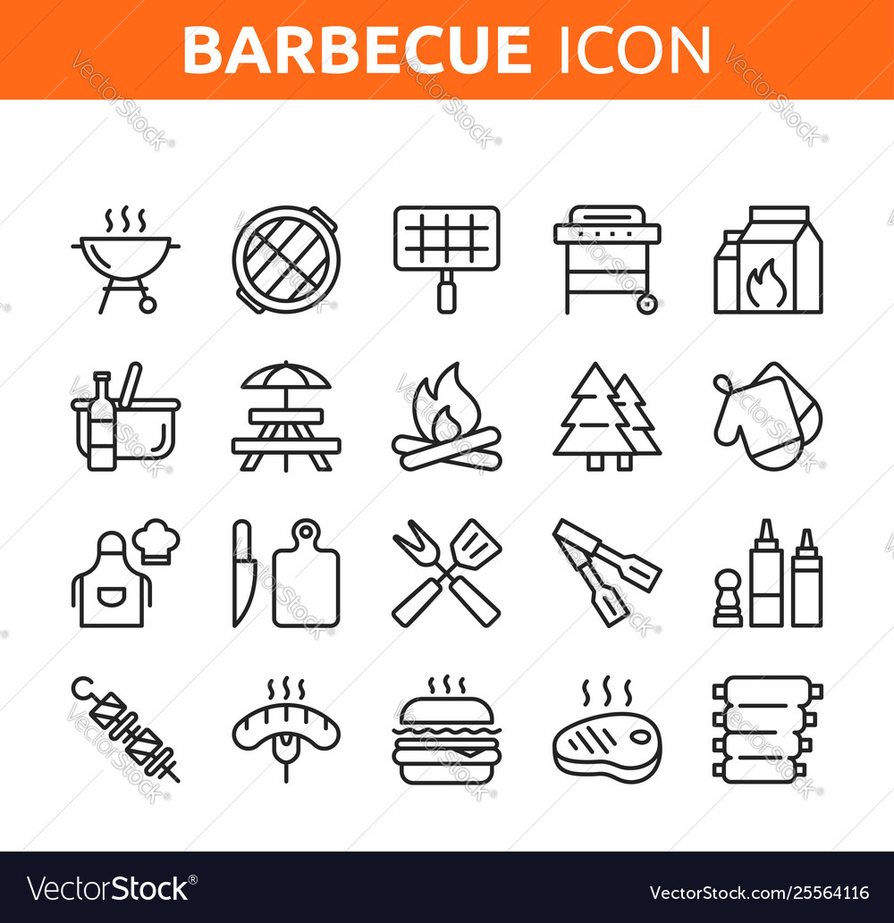 Line icon set bbq party barbecue grill picnic