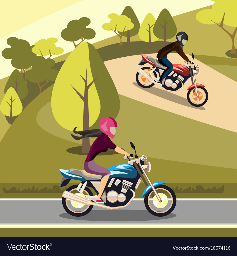 Man and woman riding on their motorbikes