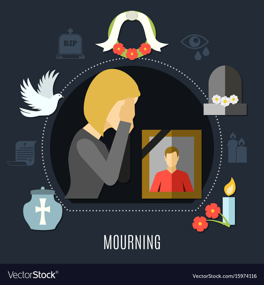 Mourning concept set vector image