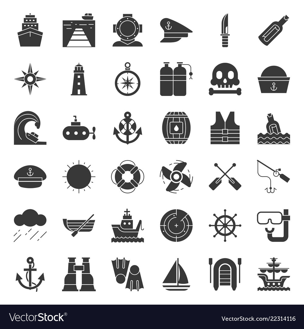 Nautical and sailor related icon set solid style
