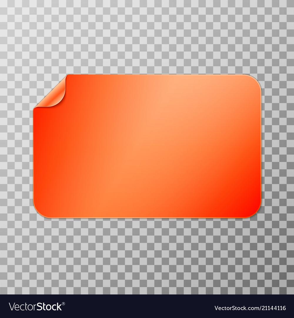 Orange rectangular peel off paper sticker