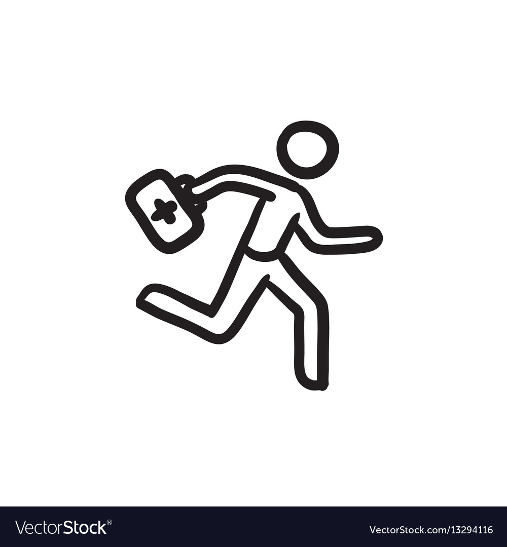 Paramedic running with first aid kit sketch icon