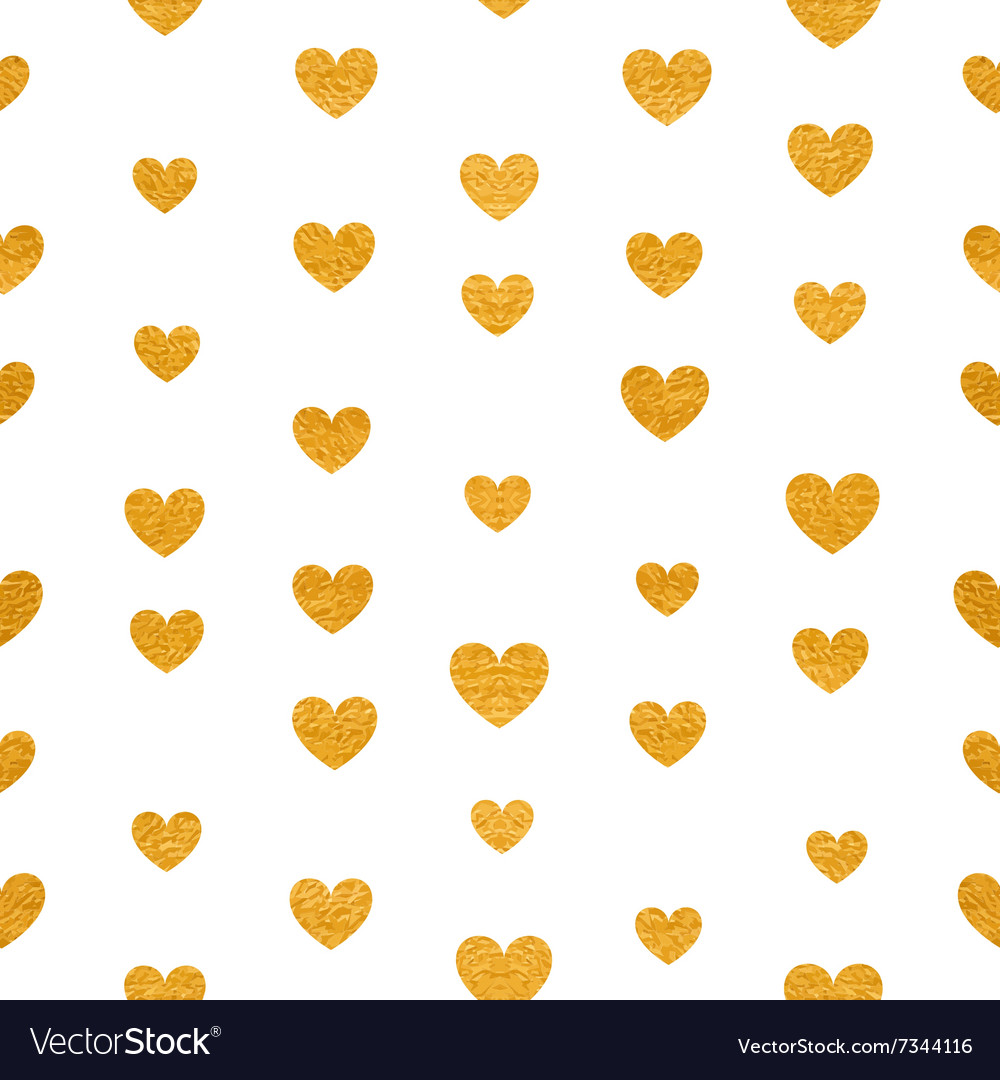 Seamless pattern of golden hearts