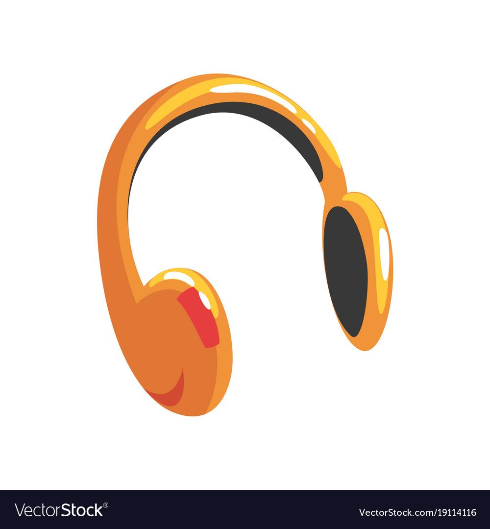 Yellow protective headphones cartoon