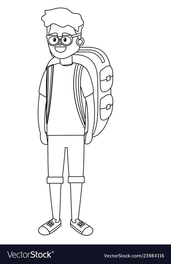 Young tourist man cartoon
