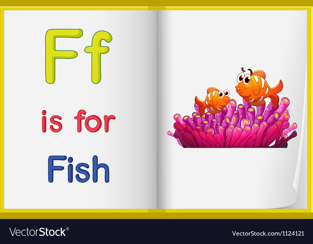 A picture of a fish in a book