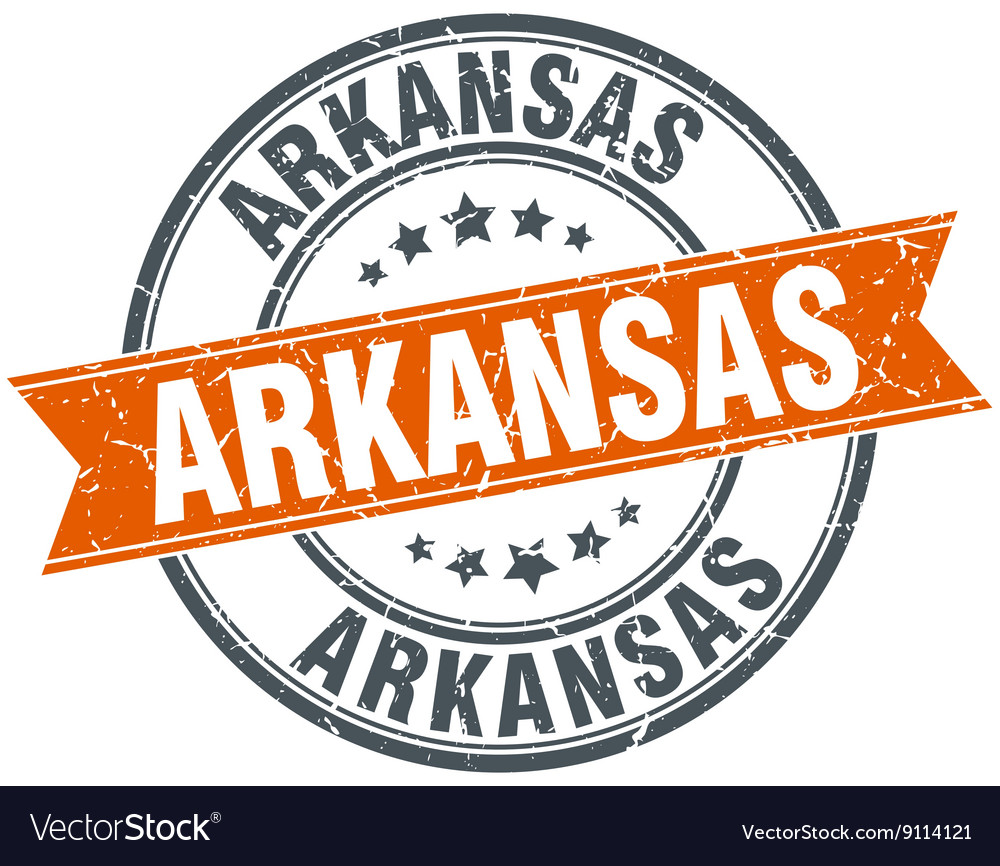 Arkansas red round grunge vintage ribbon stamp vector image