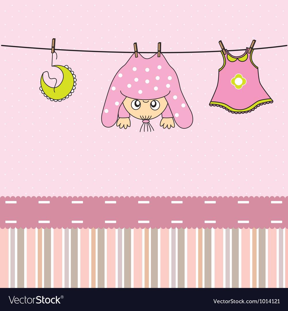 Baby gir arrival announcement card