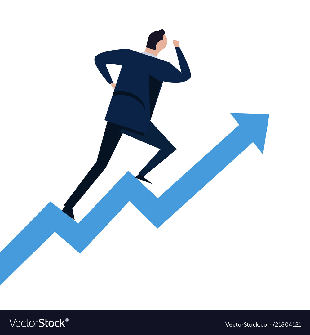 Businessman running on steps growth chart going up