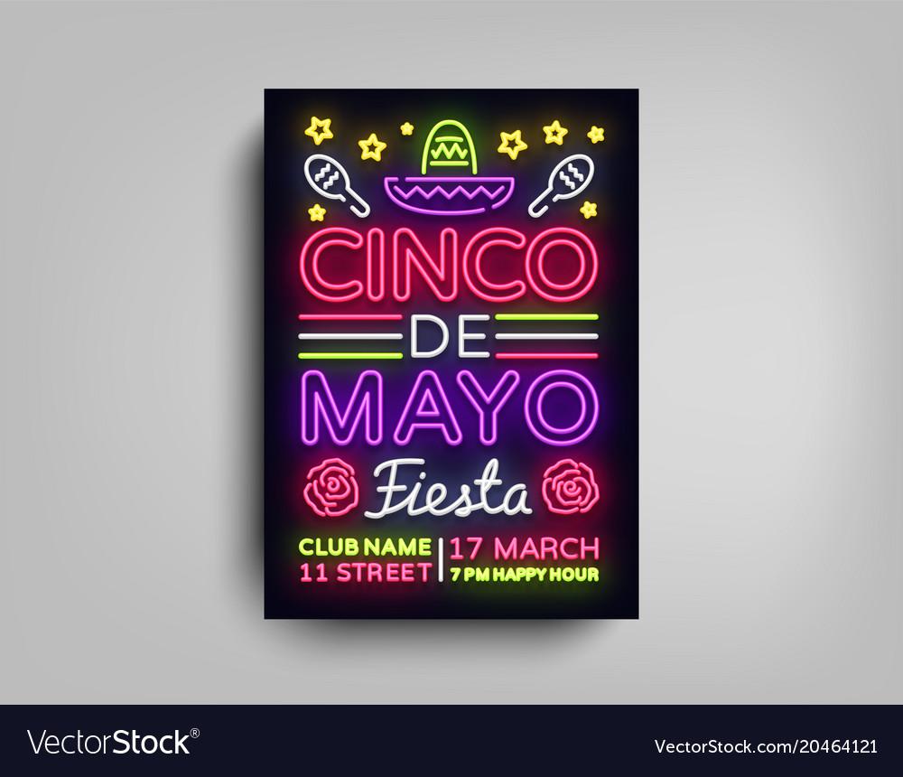 Cinco de mayo poster design neon style template